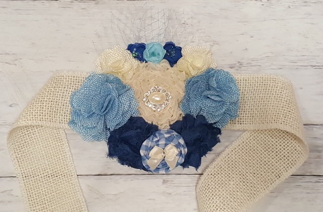 Baby Boy Blue Gingham Rustic Burlap Flowers Amp Pearls
