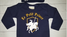 """Le Petit Prince"" Navy Blue Layette Gown & Hat Set"