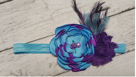 Purple & Turquoise Flower and Feather Vintage Shabby Headband