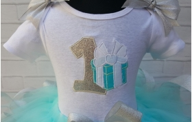Tiffany Blue & Silver Gift Box 3 pc Personalized Birthday Ribbon Tutu Set Age 1 2 3 4 5 6