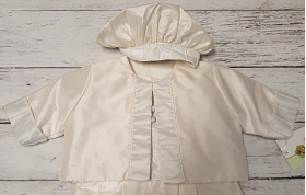 Christie Helene Ivory & Blue Silk 3 Pc Romper Jacket & Hat Christening Set (6m)