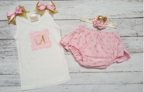 Pink & Gold Damask Ruffle Personalized Bloomer 2 Piece Set