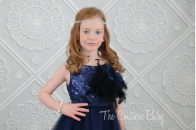 Navy Sparkle Feather Dress