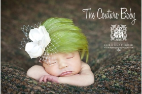 Moss Green Vintage Feather & Pearl Headband