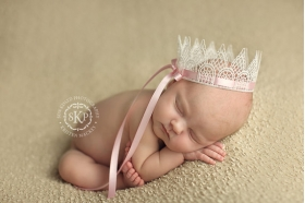 Vintage White Baby Crown with Pink Bow