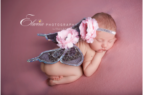 Baby Pink Pewter Sequin Butterfly Wings