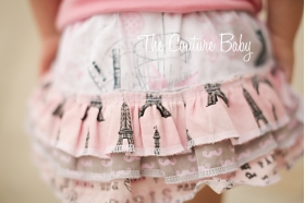 Paris Eiffel Tower Mustache Ruffle Bloomer Set