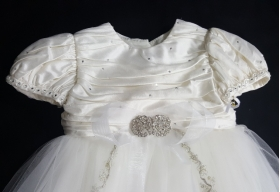 """Christie Helene """"One of A Kind"""" Ivory Silk & Tulle Crystals Beads Christening Gown & Hat Set (6m)"""