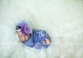Purple Hues and Lace Ostrich Feather Crystal Center Headband