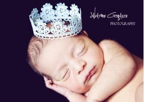 Light Blue Scalloped Lace Baby Crown Photo Prop