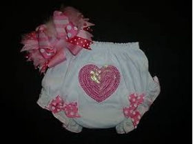 Pink Sequin Heart Diaper Cover Bloomers