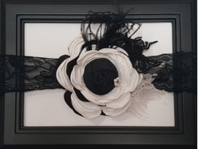 Black & White Flower Ostrich Feather Vintage Lace & Pearl Headband