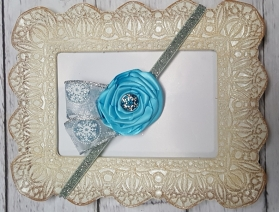 Crystal Star of David Blue Snowflake Glitter Headband