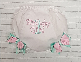 Birthday Girl Diaper Cover Personalized Bloomers with Aqua & Pink Boutique Bows