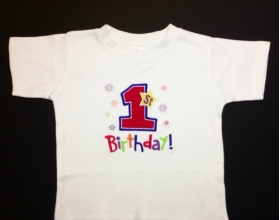 Boy's Customized Shirt with Phrase and Number One Applique