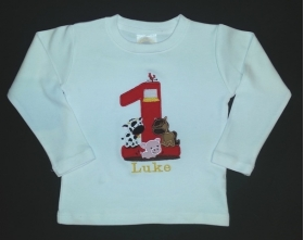 Boy's Customized Shirt with Name and Animal & Age Applique