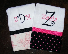 Trendy  Baby Toile & Dot Burp Cloths