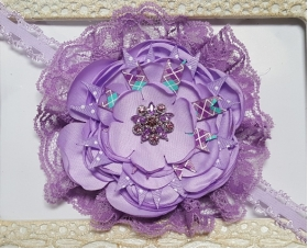 Lovely Lavender & Lace Crystal Vintage Floral Headband Shabby chic headband