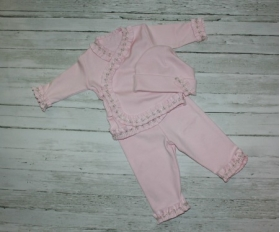 Pink Rosette 3 Piece Layette Set