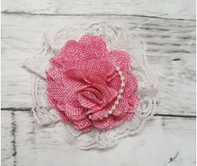 Rustic Pink Burlap Flowers, Lace & Pearls Maternity Belly Sash Photo Prop