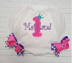 Birthday Princess Applique Personalized Diaper Cover Bloomers w/ Pink & Purple Bows