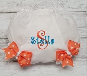 Teal & Coral Personalized Name & Initial Diaper Cover Bloomers