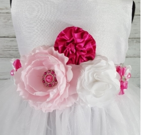 White Tulle Dress with Pink & Crystal Floral Sash