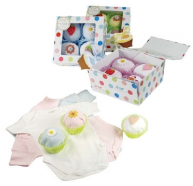 Cupcake Onesies 4  Pack of White & Light Blue, Pink, or Yellow