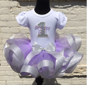 Lavender Glitter Ribbon Tutu & Shirt 3 pc Personalized Birthday Set
