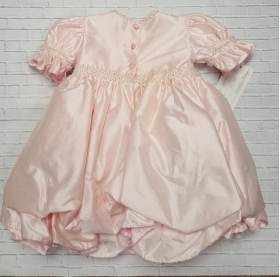 Pearl & Crystal Pink Silk Party Infant Dress 1st Birthday Christie Helene
