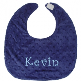 Navy Blue Personalized Minky Bib