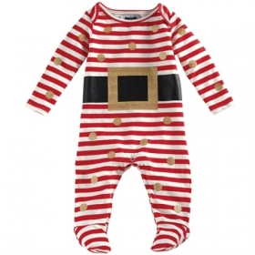 Santa Belt Red & White Footed One-Piece