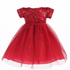 Red Sequin & Tulle Christmas Dress (Size 2)