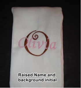 Your Own Burp Cloth with Raised Name and background initial