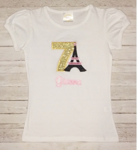 Eiffel Tower Sparkle Personalized Birthday Shirt