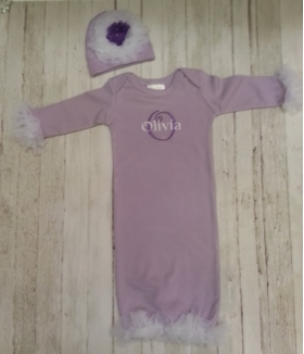 Lavender & Chiffon Personalized Layette Gown & Hat