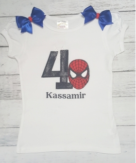 Birthday SPIDERMAN Red & Blue 3 Pc. Personalized Ribbon Tutu Set