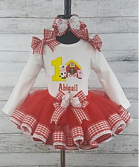 Farm Theme Custom Red & White Gingham Personalized Ribbon Tutu 3 Pc Set  Age 1 2 3 4 5 6 7