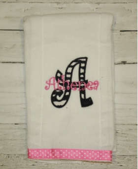 Zebra Applique Burp Cloth