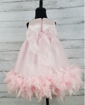 Pink Rosette Crystal & Feather Tulle Birthday Party Dress & Headband 2 Pc Set (Sz 12m or 18m)