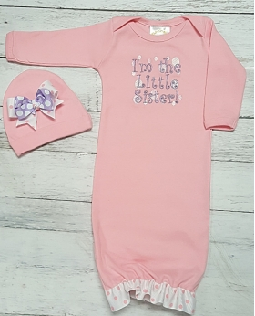 I'm The Little Sister Pink Layette Gown & Hat 2 Pc. Set