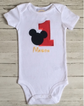Layette with red Applique number 1, black Applique mouse design  and Name