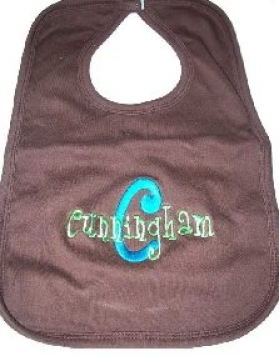 Personalized Embroidered Bib with Name and Initial