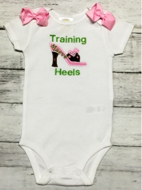 """Training Heels"" Personalized Applique & Embroidered Onesie"