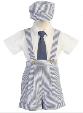 Boy's Seersucker Blue & White Stripe 4 Piece News Boy Short Set