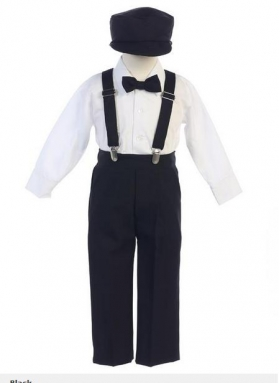 Boy's Black Pants Suspenders Shirt Bow Tie & News Boy Cap 4 Piece Set