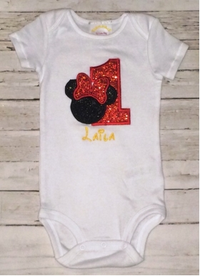 1st Birthday Twin Set Mickey & Glitter Minnie Onesie