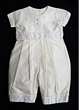 """Christie Helene """"One Of A KInd"""" Ivory & Blue Silk Christening Suit & Hat Set (6 months)"""