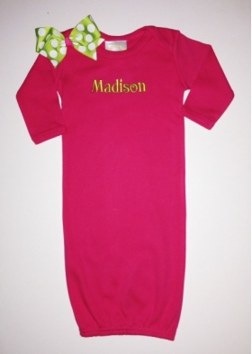 Personalized Layette Gown with bow on shoulder