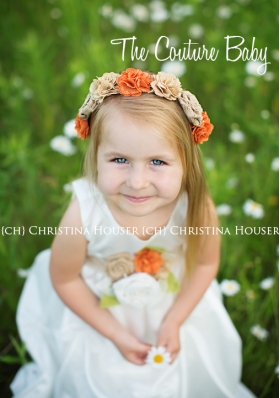 Rustic Vintage Ivory Gathered Pin Tuck Flower Girl Birthday Special Occasion Dress, Sash & Headband Set